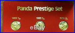1/10oz Gold Panda 7-Coin Prestige Set 1982 1983 1984 1985 1986 1987-s 1987-y