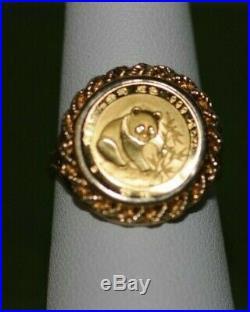 1/20 Oz Panda Coin 1999 China 5 Yuan Set in 14K Gold Ring Fine. 999