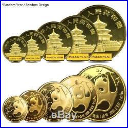 1.9 oz Chinese Gold Panda 5-Coin Set BU (Random Year, Sealed)