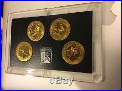 1980 CHINA Lake Placid WINTER OLYMPICS GAMES 4 BRASS YUAN PROOF COINS SET