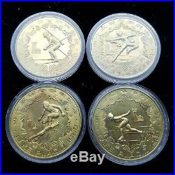 1980 CHINA XIII Olympic Winter Games Lake Placid Medal Coin Set Of 4 in caps