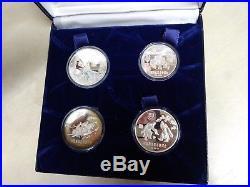 1980 China Lake Placid Silver Proof Set 4 Coin Set Original Holder & COA
