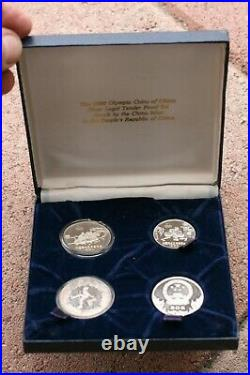 1980 SILVER CHINA 4 COIN OLYMPIC SPORTS PROOF SET BOXED No COA