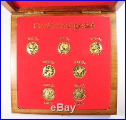 1982-1987 Prestige Panda Set Seven 1/10 Gold Panda Coins From China