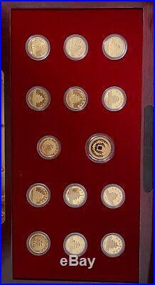 1982 1993 (14 Piece) 1/10 oz 10 Yuan Gold Panda Coin Set with Box & COA