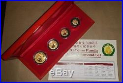 1982-2002 20 Years Panda 4 Coin Chinese Gold Panda Diamond set 1 of 500! RARE