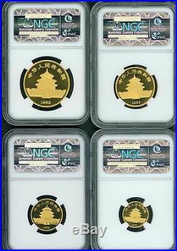 1982 4-COINS 1 1/2 1/4 & 1/10 Oz. GOLD SET CHINESE PANDA NGC MS68 CHINA