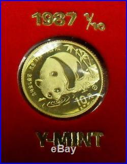 1982-87 China 1/10 oz. Gold Panda 10Y 7-Coin Panda Prestige Set