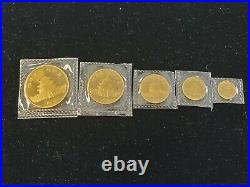 1984 5-COIN GOLD PANDA SET 100Y 50Y 25Y 10Y 5Y in Mint Packaging