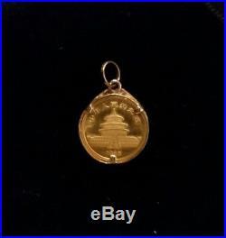 1985.999 1/20 oz Gold PANDA China Coin 14K Pendant Setting with Diamond Chips