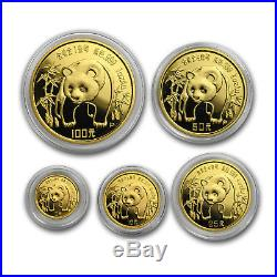 1986 China 5-Coin Gold Panda Set BU (Capsule Only) SKU#167376