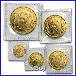 1986 China 5-Coin Gold Panda Set BU (Sealed) SKU#14575
