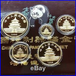 1986 China 5 Piece Proof Panda. 999 Gold Yuan Coin Set In Box and COA