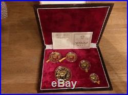 1986 China 999 Gold Panda 5 Coin Proof Set 1 1/2 1/4 1/10 1/20 Oz In Box COA