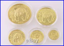 1986 Proof Panda 5 Coin Set China Box COA 1.9 Oz Gold