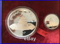1987 China 2-Coin Silver Panda Proof Set (withBox and COA) 5oz & 1oz Coin