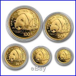 1987 China 5-Coin Gold Panda Proof Set (In Capsule) SKU#159446