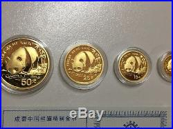1987 China 999 Gold Panda 5 Coin Proof Set 1 1/2 1/4 1/10 1/20 Oz In Box COA