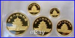 1987 China Gold Panda Proof 5 Piece 100, 50, 25, 10, 5 Yuan Coin Set Box & COA