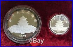 1987 China Panda 2 Coin. 999 Silver Proof Set