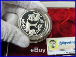 1987 China Panda 2 Coin. 999 Silver Proof Set 10 & 50 Yuan 1 oz, 5 oz with COA