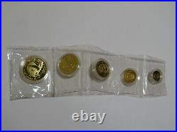 1987-P China Gold Panda Proof Set 5 Coin with Capsules