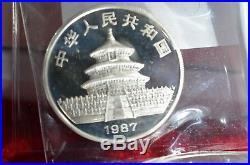 1987 Panda China 2 Coin Silver Proof Set 50 & 10 Yuan. 999 1oz 5oz with COA, authen