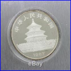 1987 Panda Chinese China Coin Silver Proof Set 50 & 10 Yuan. 999 1oz 5oz with COA