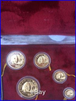 1987 Panda Gold Chinese 5-Coin Set Individually Sealed with Original Box