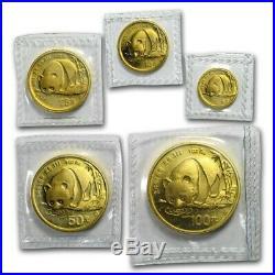 1987-S China 5-Coin Gold Panda Set BU (Sealed)