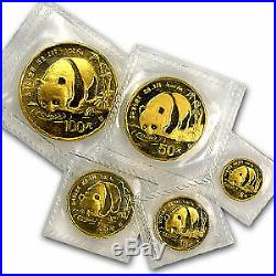 1987-S China 5-Coin Gold Panda Set BU (Sealed) SKU #14577