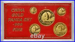 1987 S Chinese Panda Gold UNC Set (5 coins) 1.9 AGW with MBT CERTIFICATE