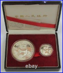 1987 Silver China Proof 10 & 50 Yuan Panda 2 Coin Set In Box