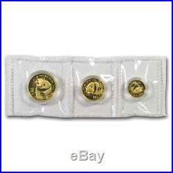 1987-Y China 3-Coin Gold Panda Prestige Set BU (WithBox & COA) SKU#70846
