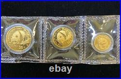 1987-Y China 3-Coin Gold Panda Prestige Set! Full set! Rare