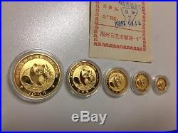 1988 China 999 Gold Panda 5 Coin Proof Set 1 1/2 1/4 1/10 1/20 Oz In Box COA