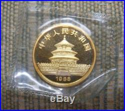 1988 China Gold Panda BU Set (5 Coins) original sealed government packaging