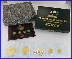 1988 Proof Panda 5 Coin Set China Sealed OMP Strip Box COA 1.9 Oz Gold