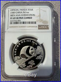 1989 3 Coin Panda Set, 1 Oz. Palladium, 1/2 Oz. Gold, 1 Oz. Silver NGC-Pr 69/68