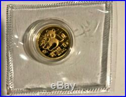1989 China 1.90 Oz Gold Panda 5-coin Proof Set Original Box & Coa Free Shipping