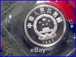1989 China 3 piece Proof Coin Set. Silver Crane, Deer, Gold Tiger Original Box