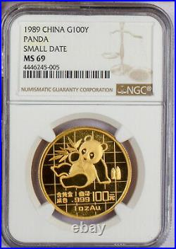 1989 China 5 Coin Set Small Date Gold Panda NGC MS69