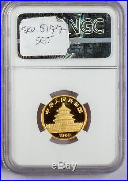 1989 China Gold Panda Large Date 5 Coin Set Ngc Ms 69