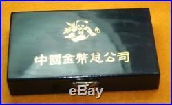 1989 China Silver Panda 1oz. 999 Silver Coin 2 Coin Set PF & BU in Box