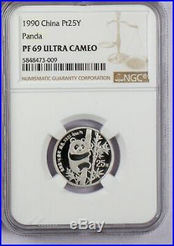 1990 CHINA Proof 1/2, 1/4, 1/10 ounce Platinum Panda 3 Coin Set NGC PR 69 UC