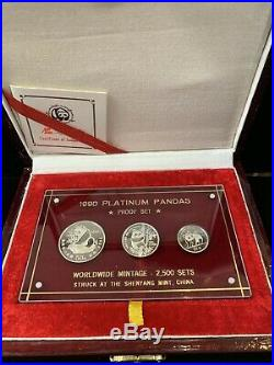 1990 China 3-Coin Platinum Panda Proof Set