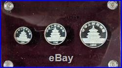 1990 China 3 Coin Platinum Panda Proof Set FREE SHIPPING