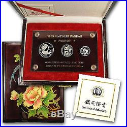 1990 China 3-Coin Platinum Panda Proof Set (withbox & COA) SKU#58112