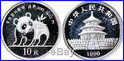 1990 China Prestige Panda Set Gold, Platinum, Silver in Original Box K9821