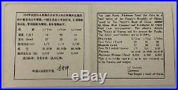 1990 China Proof 1/2 oz 1/4 oz 1/10 oz. 995 Platinum Pandas 3-Coin Set withBox/COA